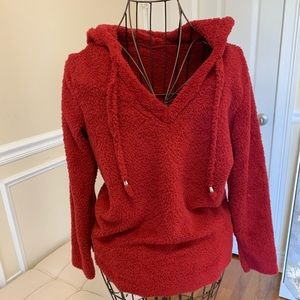 Sweaters - Red hooded fuzzy sweater